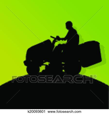 clipart of man with lawn mower tractor cutting grass in
