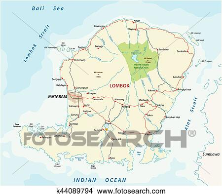 Clipart of road map of the indonesian island of Lombok k44089794