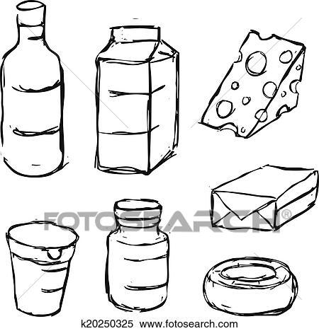 Käse clipart schwarz weiß  Clipart - milchprodukt, -, joghurt, butter, margarine, milch, käse ...