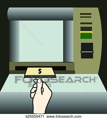 Clipart of ATM machine money withdraw k25555471 - Search Clip Art ...