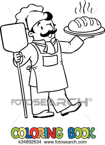 Clipart - ausmalbilder, von, lustig, koch, oder, bäcker, mit ...   {Koch bei der arbeit clipart 34}