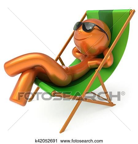 clipart smiley homme repos plage chaise longue. Black Bedroom Furniture Sets. Home Design Ideas