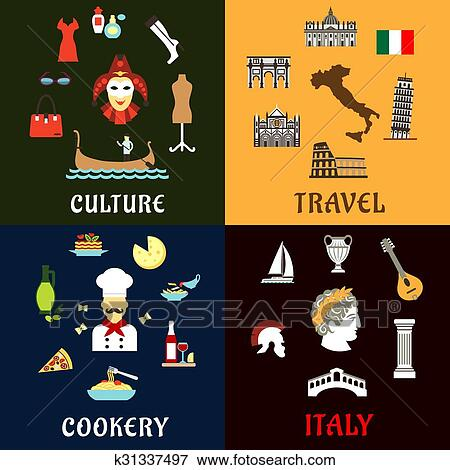 Clip Art Of Italy Landmarks Culture Ans Cuisine Flat Icons