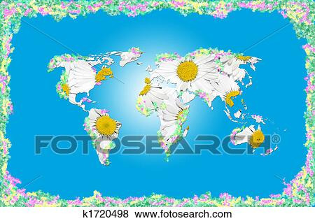 Stock illustration of world without humans k1720498 for Environmental graphics giant world map wall mural