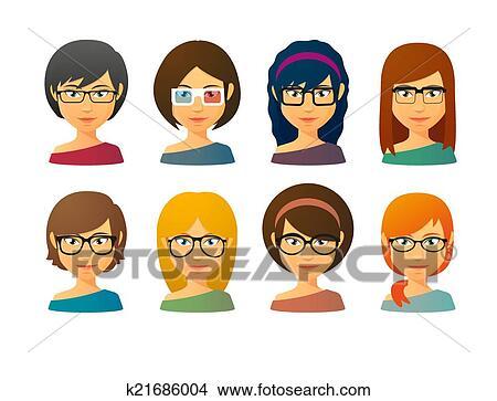 剪贴画 - 女性, avatars, 戴眼镜, 带, 各种各样, 头发, 风格.图片