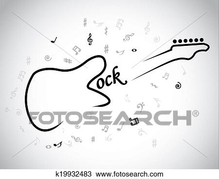Drawing Of Rock Music Electric Guitar Musical Notes Concept Red
