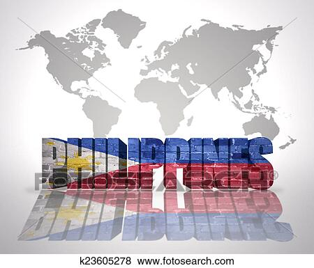 Stock illustration of word philippines on a world map background stock illustration word philippines on a world map background fotosearch search eps clip gumiabroncs Gallery