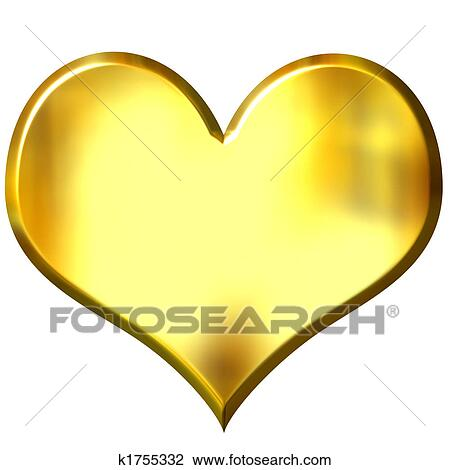 clip art of 3d golden heart k1755332 search clipart illustration rh fotosearch com Gold Heart Border Clip Art Gold Heart Outline Clip Art