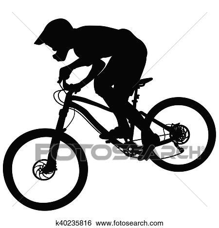 Clip Art Of Bike Race On A Mountain Slope