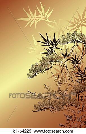 Dessin chinois arbre fond k1754223 recherchez des cliparts des illustrations et des - Dessin arbre chinois ...