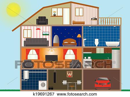 clip art haus innere k19691267 suche clipart poster illustrationen zeichnungen und eps. Black Bedroom Furniture Sets. Home Design Ideas