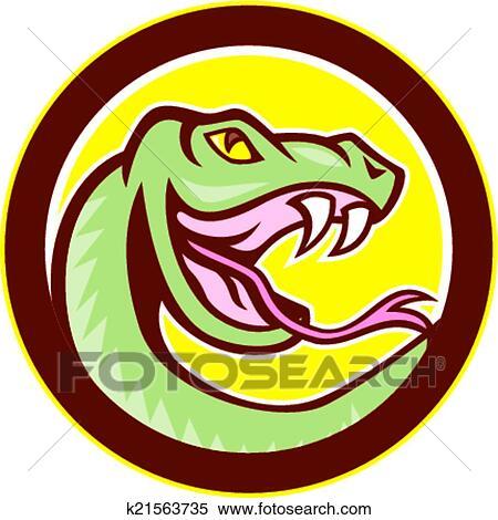 Clipart cliqueter serpent t te cercle dessin anim k21563735 recherchez des clip arts - Dessin de vipere ...