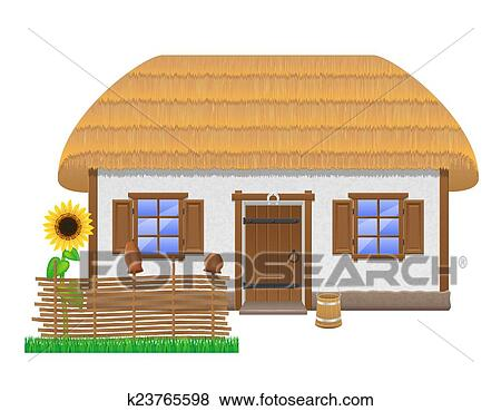 Clip Art Of Ancient Farmhouse With A Thatched Roof Vector
