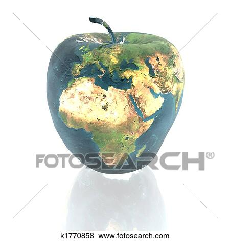 Stock illustration of bright apple with earth texture for Environmental graphics giant world map wall mural
