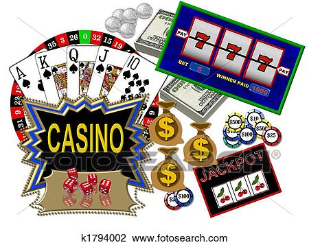 Clip Art - Casino symbols. Fotosearch - Search Clipart, Illustration ...