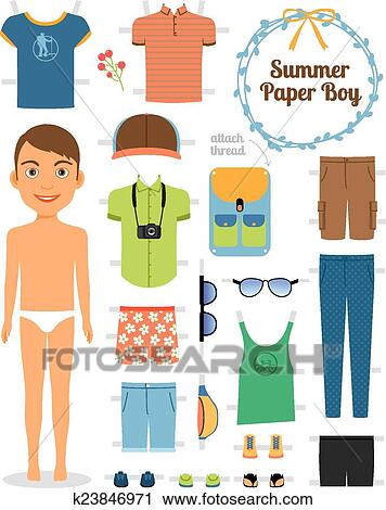 clipart of paper doll boy in summer clothes and shoes