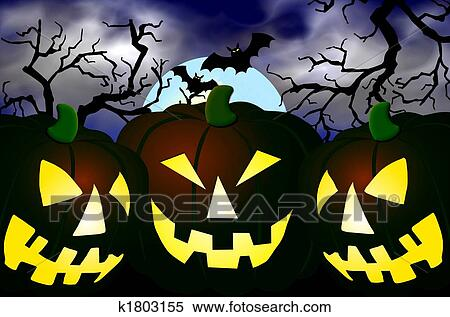 Stock Illustration of pumpkins in a halloween scene k1803155 ...