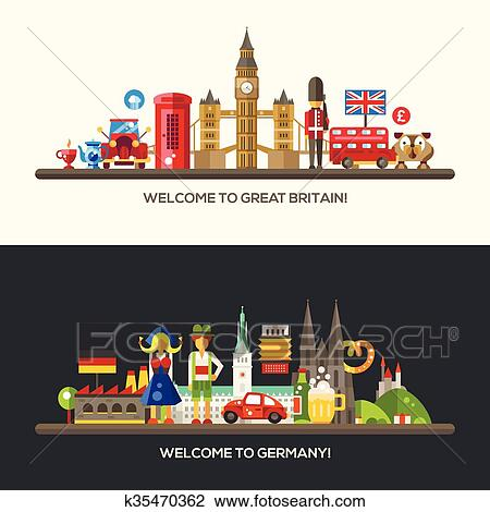 Clipart Of Germany Great Britain Travel Banners Set With Famous