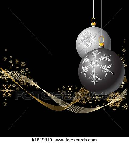 Stock illustrations of black and silver christmas bulbs - Black and silver christmas ...