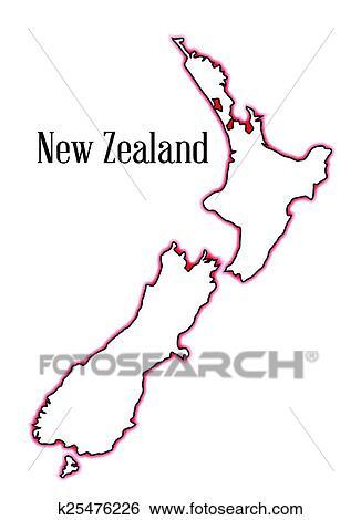 地囹kΈ�_剪贴画 - 新西兰, 地图 k25476226 - 搜寻图样,绘画