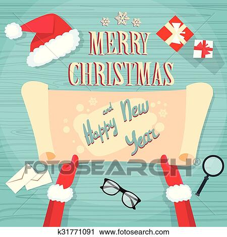 Clipart   Santa Claus Hands Scroll Old Paper Merry Christmas Wish List.  Fotosearch   Search
