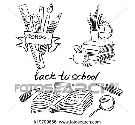Schule clipart schwarz weiß  Stock Illustration - zurück schule, schwarz weiß, zeichnung ...