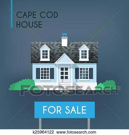 Clipart of blue cape cod country house k25964122 search for Abri mural cape cod