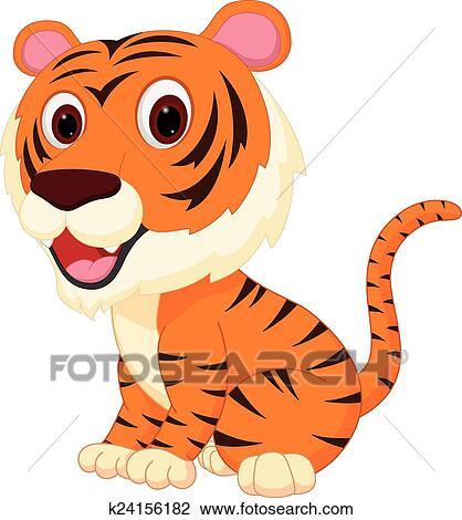 Cute cartoon tigers with big eyes