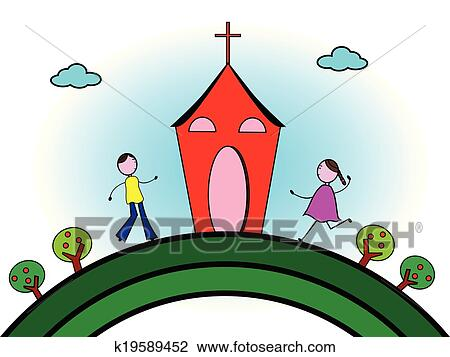 Clipart of Going to church k19589452 - Search Clip Art ...