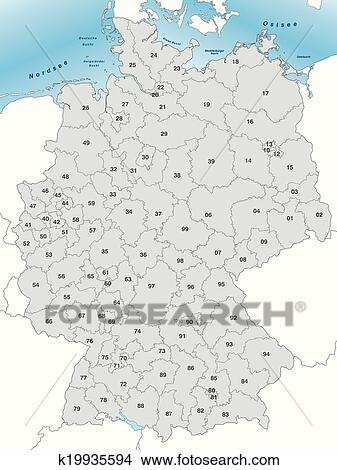 Clipart Of Map Of Germany With Postcodes K Search Clip - Germany map eps