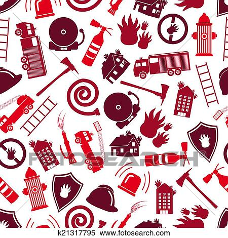 Clipart of fire brigade red color seamless pattern eps10 k21317795 ...