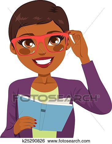 Marvelous Clip Art Of African American Girl Reading Book K25290826 Search Short Hairstyles For Black Women Fulllsitofus