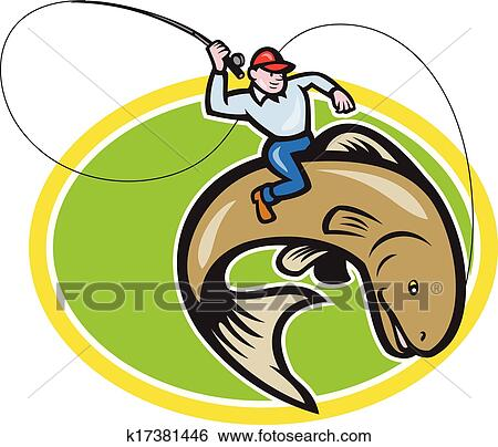 clip art of fly fisherman riding trout fish cartoon k17381446 rh fotosearch com fisherman clip art images fisherman clipart black and white vector