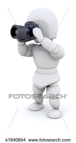 手绘图 - 人, 使用, 照相机
