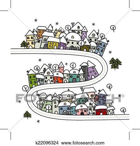 Clipart route et maisons hiver cityscape dessin - Dessin de route ...