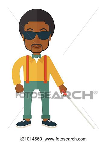 Clipart of Blind man with stick. k31014560 - Search Clip Art ...