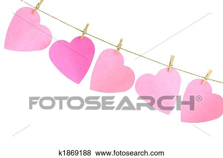 Clip Art Line Of Hearts : Stock illustration of hearts on a clothes line k search