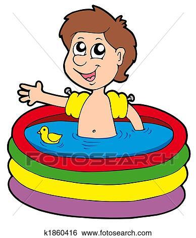 Stock illustration of boy in inflatable pool k1860416 - Clipart piscine ...