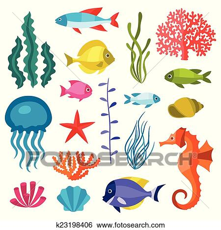 Clip Art of Marine life set of icons, objects and sea ...
