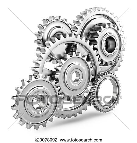 Clip Art Of Cog Gears Mechanism Concept 3d K20078092
