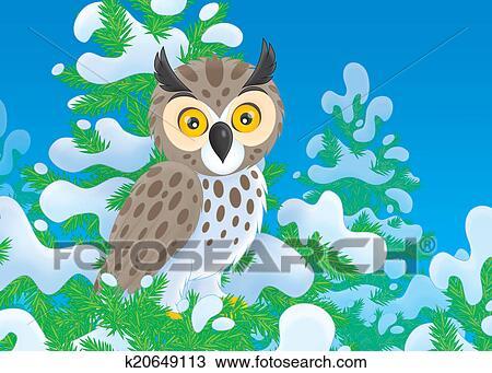 手绘图 - 猫头鹰