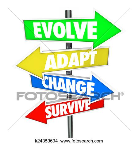 Stock Photo of Evolve Adapt Change Survive Arrow Signs ...
