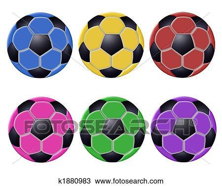 手绘图 - 彩色, 足球, 隔离图片