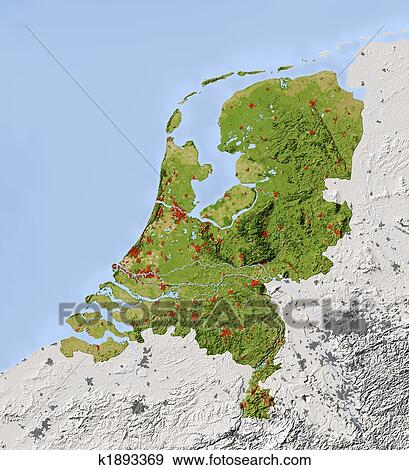 Stock Illustration of Netherlands shaded relief map k1893369