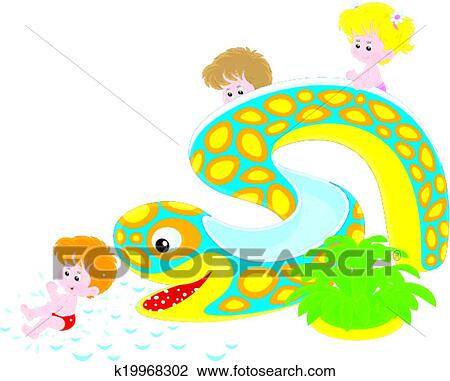 clipart of children on a waterslide k19968302 search clip art rh fotosearch com