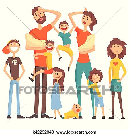 clipart of happy caucasian family with many children portrait with rh fotosearch com  family members clipart