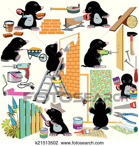 clipart set working home renovation fotosearch search clip art illustration murals