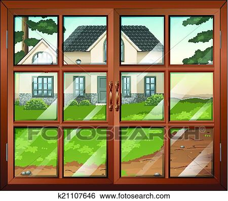 Clipart of A closed window with a view of the two elephants