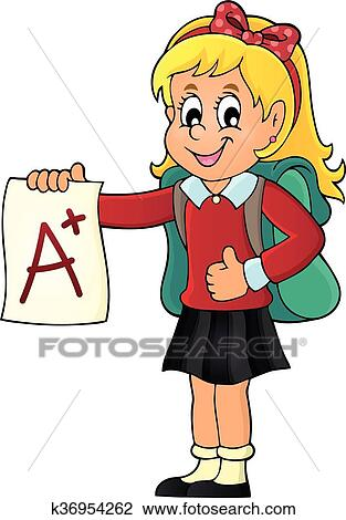 Clipart of School girl with A plus grade theme 1 k36954262 ...