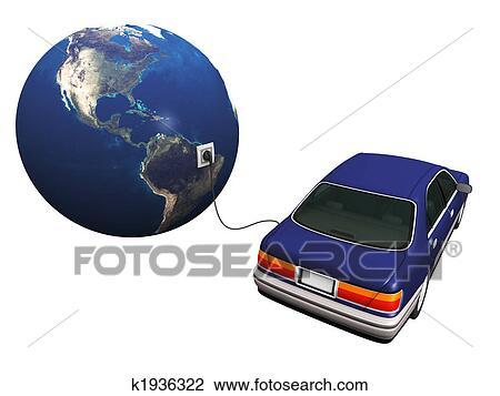 clipart voiture lectrique branch la terre charger it 39 s batteries k1936322. Black Bedroom Furniture Sets. Home Design Ideas